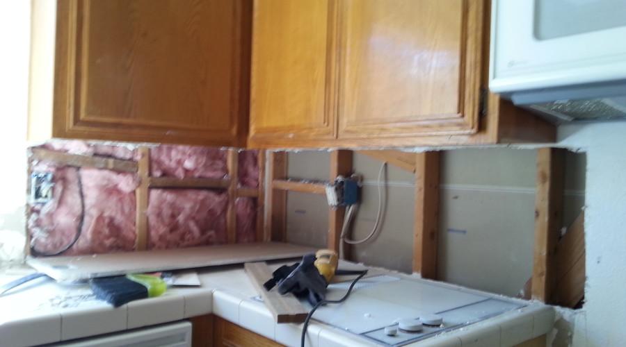 Before Photo #1 - Kitchen Backsplash Drywall Repair